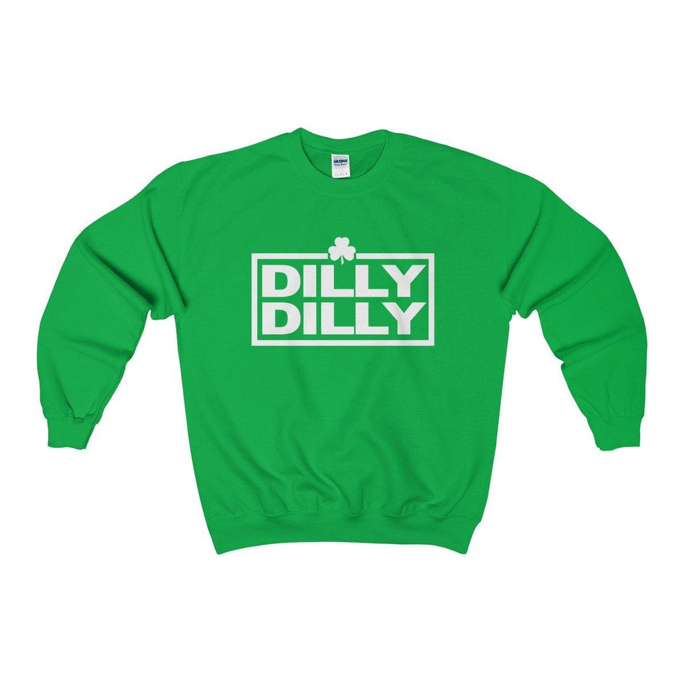 Dilly Dilly St Patricks Day Irish Shamrock Funny Green Crewneck Sweatshirt | Plus Sizes | - Miss Deplorable