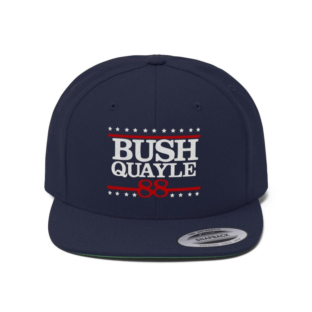 George H W Bush Hat Bush Quayle 88 Campaign Hat President Bush T shirt Flat Bill Cap - Miss Deplorable