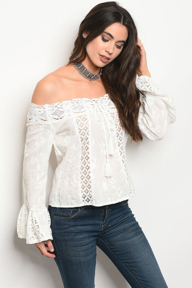 Ladies fashion ling sleeve off the shoulder lace detailed top with bell cuffs - Miss Deplorable