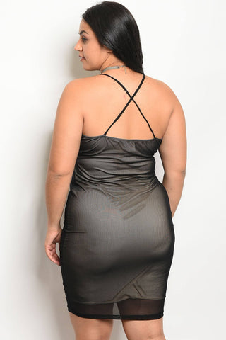 Ladies fashion plus size mesh bodycon dress with a v neckline and nude lining - Miss Deplorable
