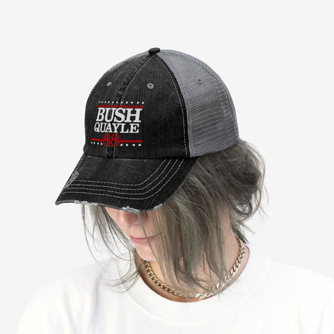 George H W Bush Hat Bush Quayle 88 Campaign Trucker Hat for $35.00 at Miss Deplorable