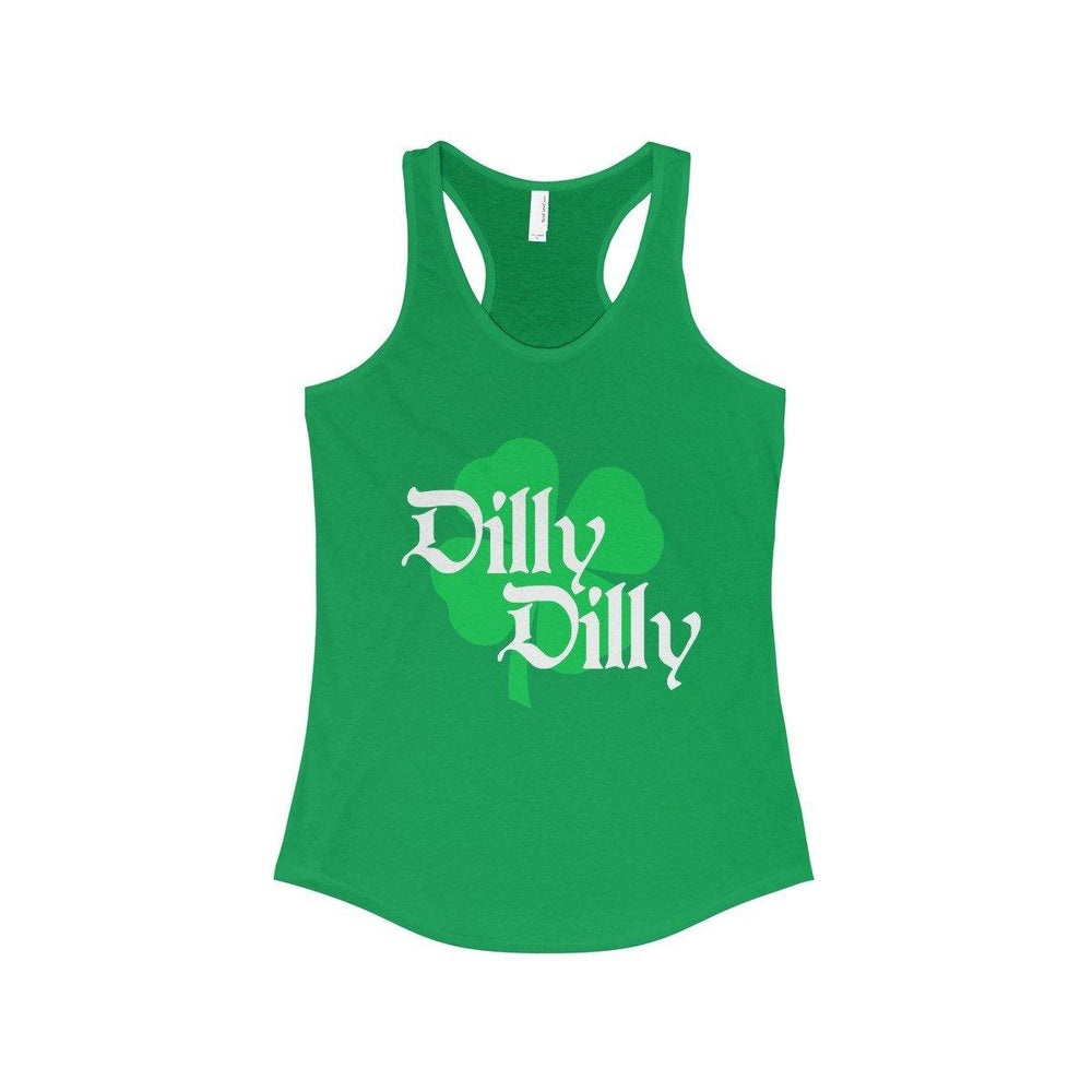 ST. Patricks Day Dilly Dilly Clover Funny Beer Drinking Womens Racerback Tank Top - Miss Deplorable