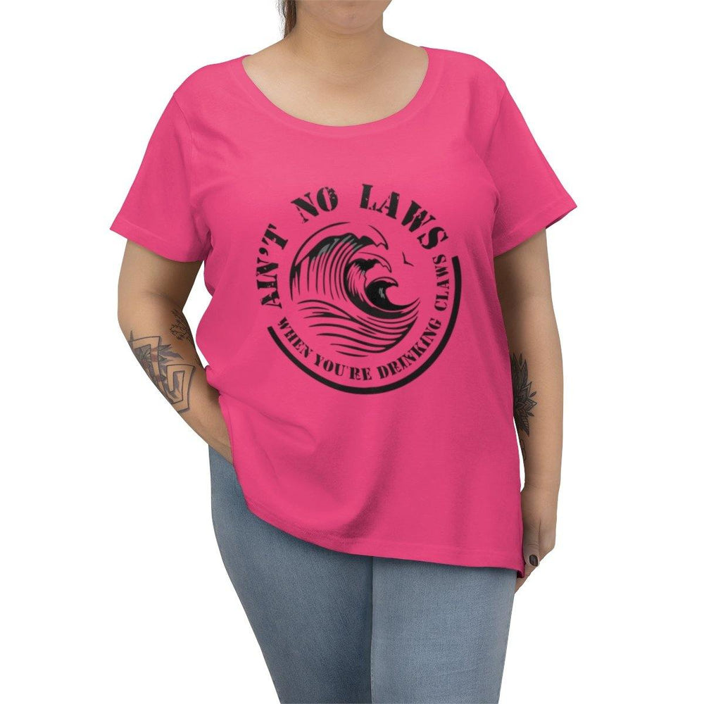 Aint No Laws When Your Drinking Claws Curvy Tee - White Claw T-Shirt - Womens Plus Size Drinking Shirt - Miss Deplorable