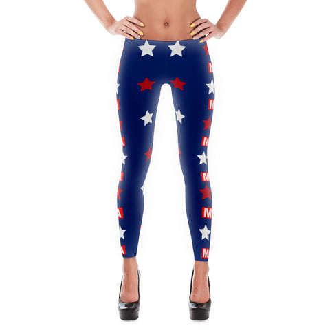 "Make America Great Again ""MAGA"" Red, Blue and White Leggings for $0.49 at Miss Deplorable"