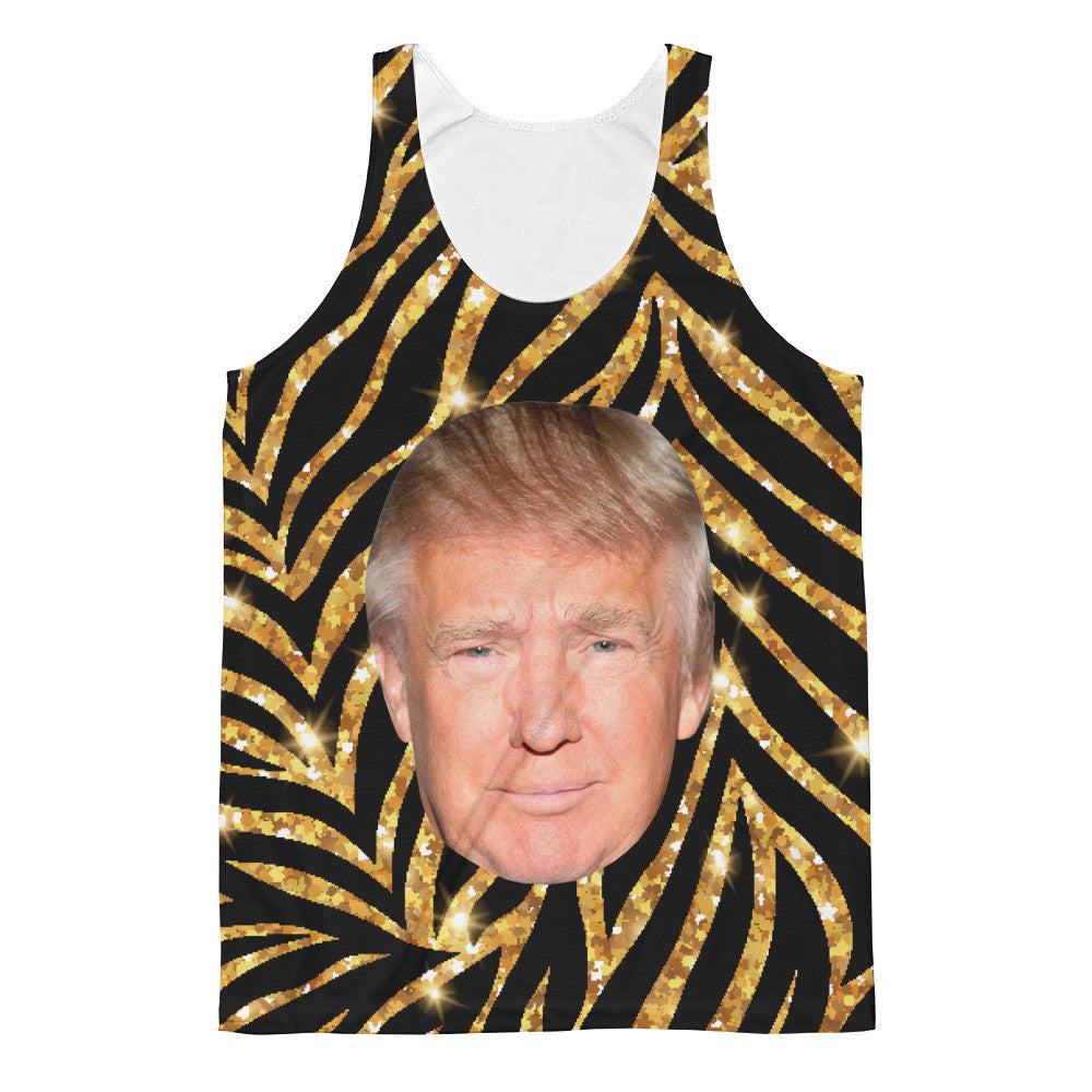Donald Trump Black & Gold 80's Style Mens Classic Fit Tank Top - Miss Deplorable