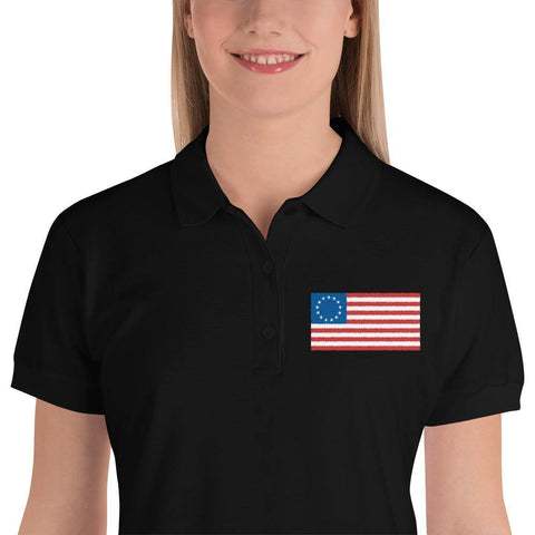 Betsy Ross American Flag Embroidered Women's Polo Shirt - Miss Deplorable