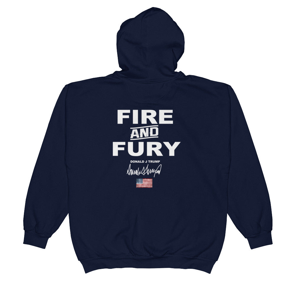Donald Trump Fire And Fury Make America Great Again MAGA Zip Hoodie for $55.00 at Miss Deplorable