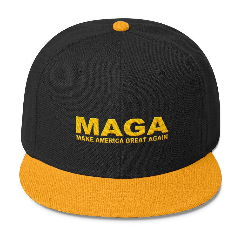 Make America Great Again Snapback Cap Yellow | Black - Miss Deplorable