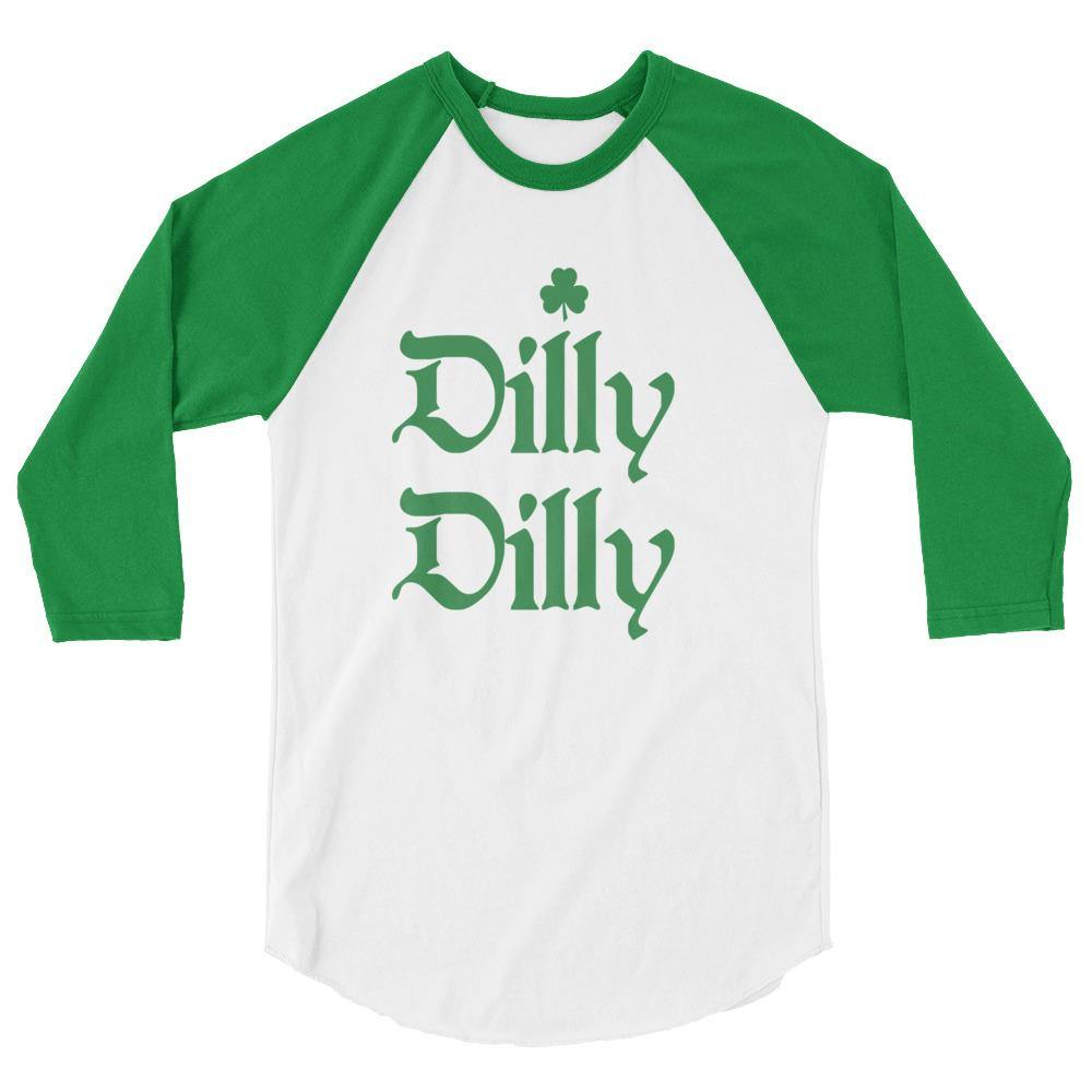 Mens Dilly Dilly St Patricks Day Irish Shamrock Green And White Raglan Shirt - Miss Deplorable