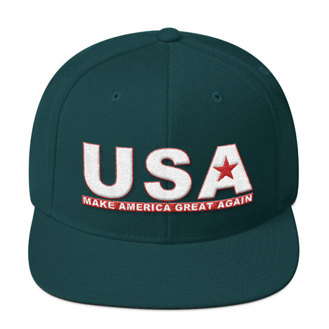 Make America Great Again USA Wool Blend Snapback for $33.00 at Miss Deplorable