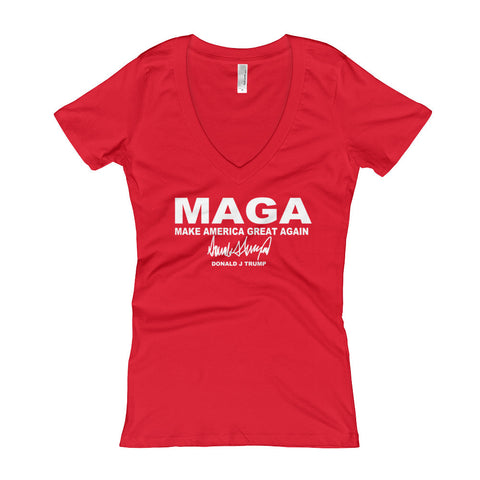 Make America Great Again MAGA Women's V-Neck T-shirt - Miss Deplorable