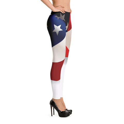 Statement American Flag Leggings Red White Blue for $0.49 at Miss Deplorable