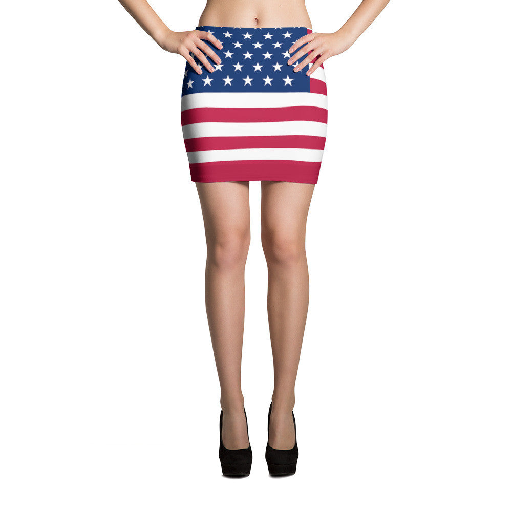Red Blue and White American Flag Mini Skirt - Miss Deplorable