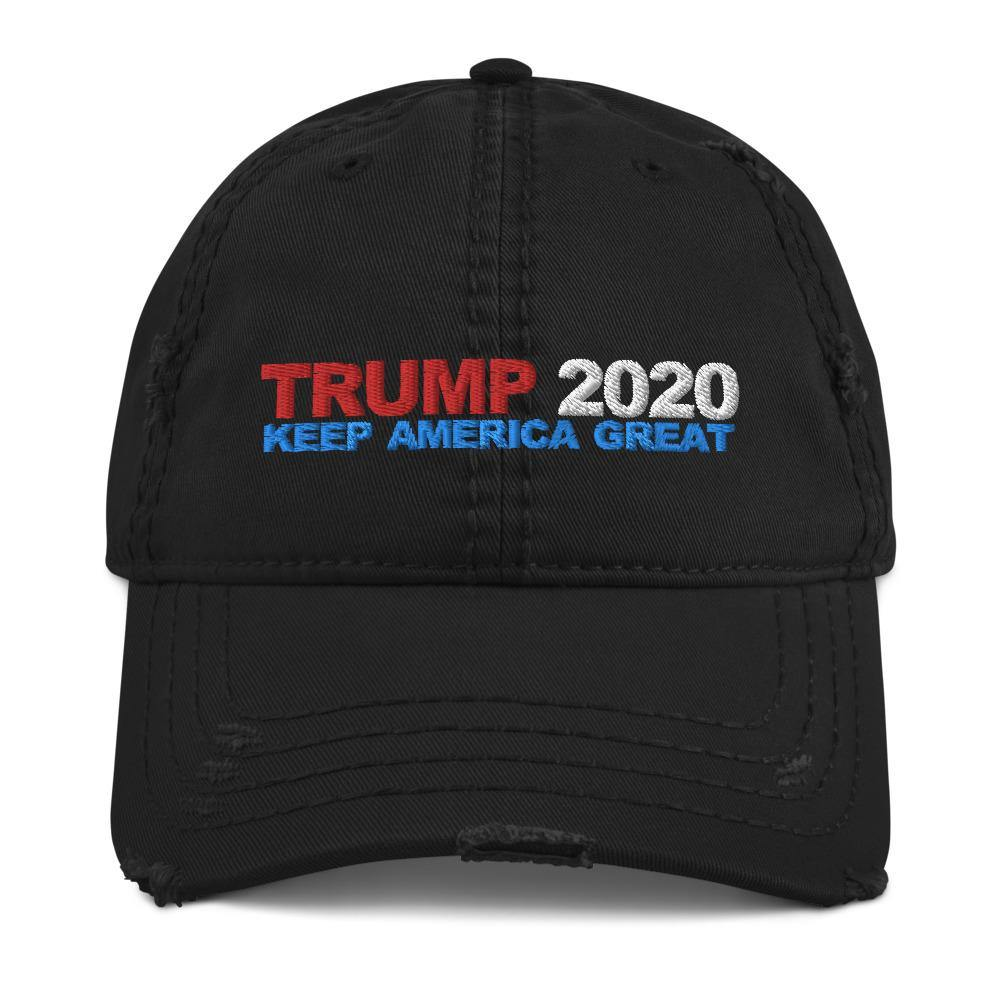 DONALD TRUMP 2020 Distressed Dad Hat for $39.00 at Miss Deplorable