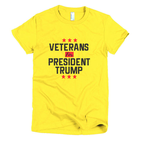 Veterans For President Trump Short sleeve women's t-shirt for $25.00 at Miss Deplorable