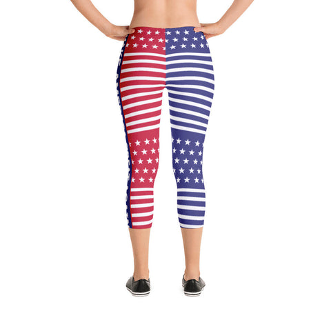 Make America Great Again Red, White and Blue Capri Leggings - Miss Deplorable