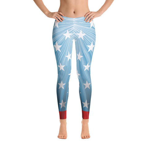 Patriotic American Flag Leggings Light Blue for $49.95 at Miss Deplorable