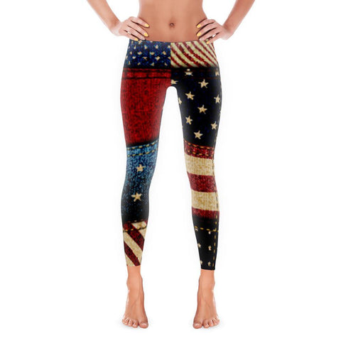 American Flag Jean Stitch Leggings - Miss Deplorable