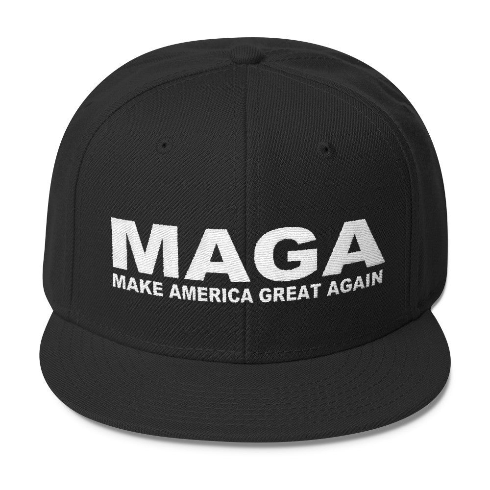 Make America Great Again Black Wool Blend Black Snapback - Miss Deplorable