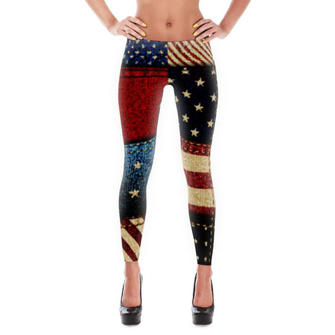 American Flag Jean Stitch Leggings for $0.49 at Miss Deplorable