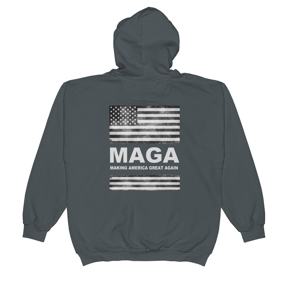 Making America Great Again Mens Zip Hoodie Charcoal - Miss Deplorable