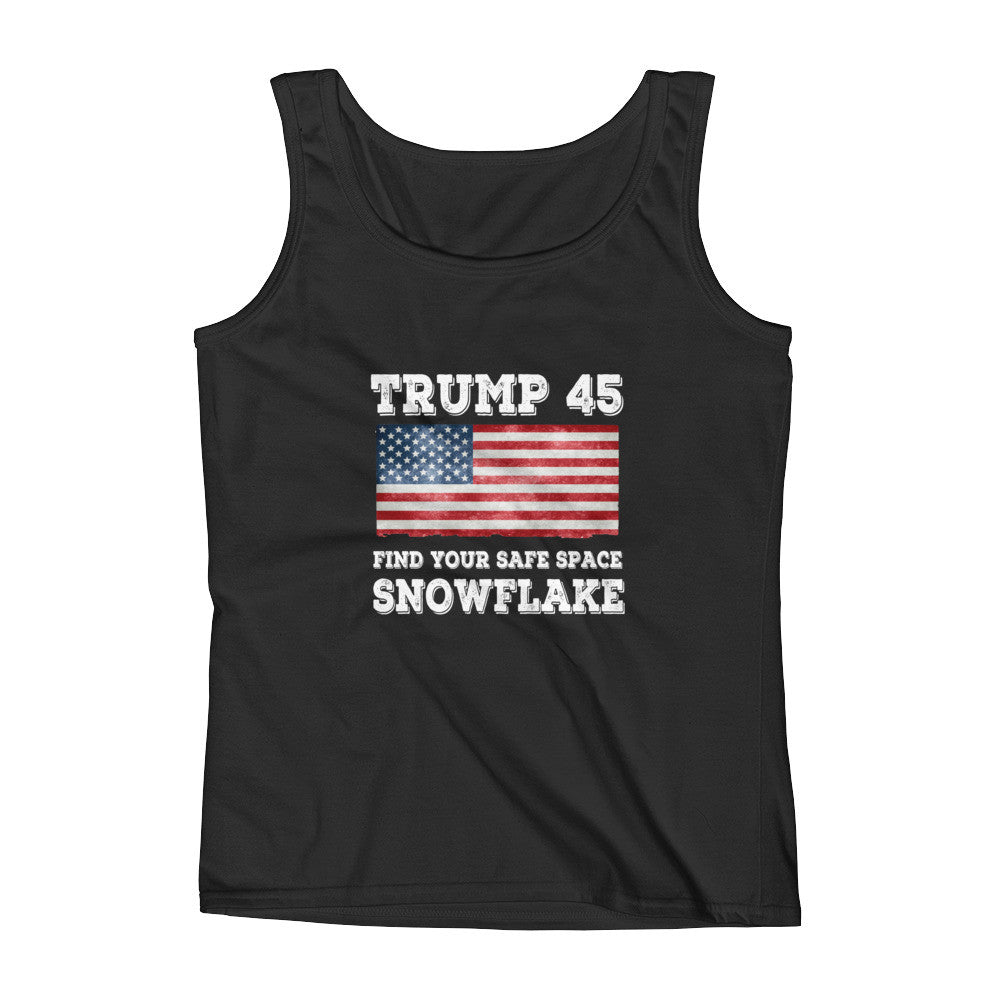 Trump 45 Find Your Safe Space Snowflake Ladies' Tank - Miss Deplorable