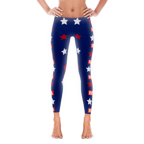 "Make America Great Again ""MAGA"" Red, Blue and White Leggings - Miss Deplorable"