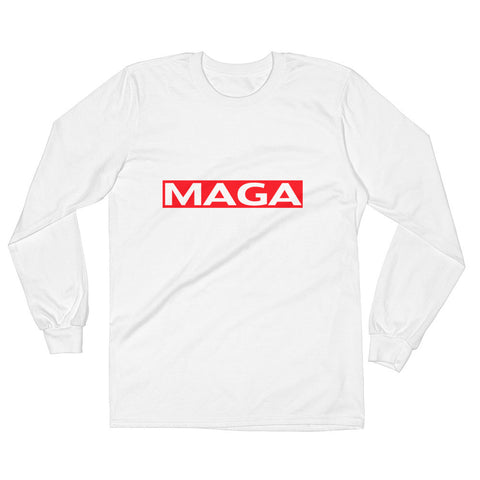 Red MAGA Long Sleeve Mens White T-Shirt - Miss Deplorable