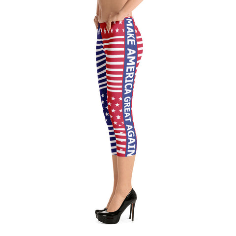 Make America Great Again Red, White and Blue Capri Leggings for $0.47 at Miss Deplorable