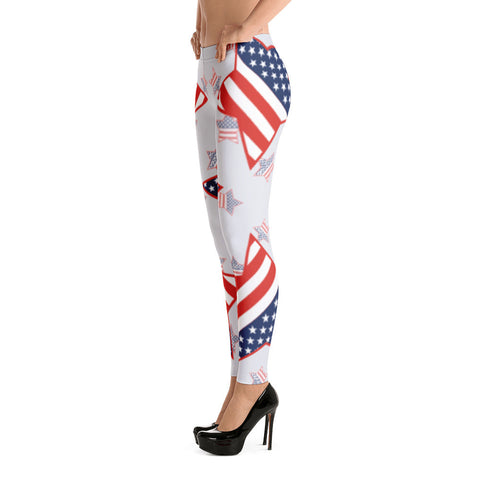 Patriotic American Flags With Stars Leggings - Miss Deplorable