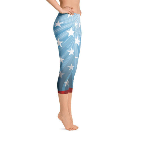 American Stars Patriotic Capri Leggings Blue - Miss Deplorable