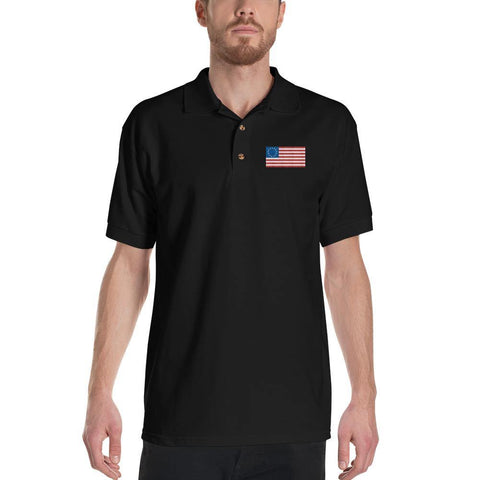 Betsy Ross Flag Polo Shirt - American Flag Embroidered Polo Shirt for $34.00 at Miss Deplorable