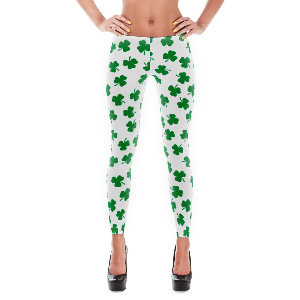 Irish Four Leaf Clover St Patricks Day Leggings - Miss Deplorable