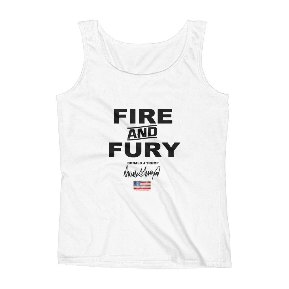 Donald Trump Fire And Fury Ladies' Tank Top - Miss Deplorable