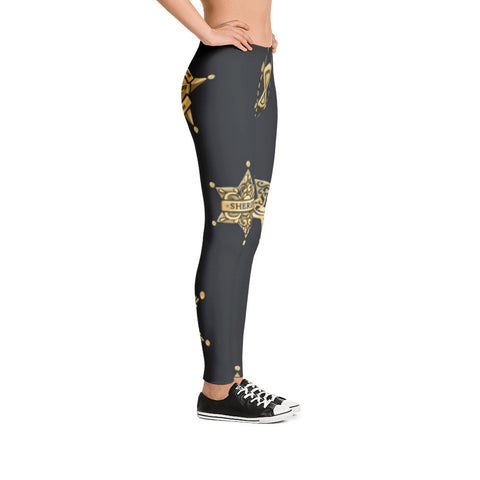 County Sheriff Gold and Black Leggings - Miss Deplorable