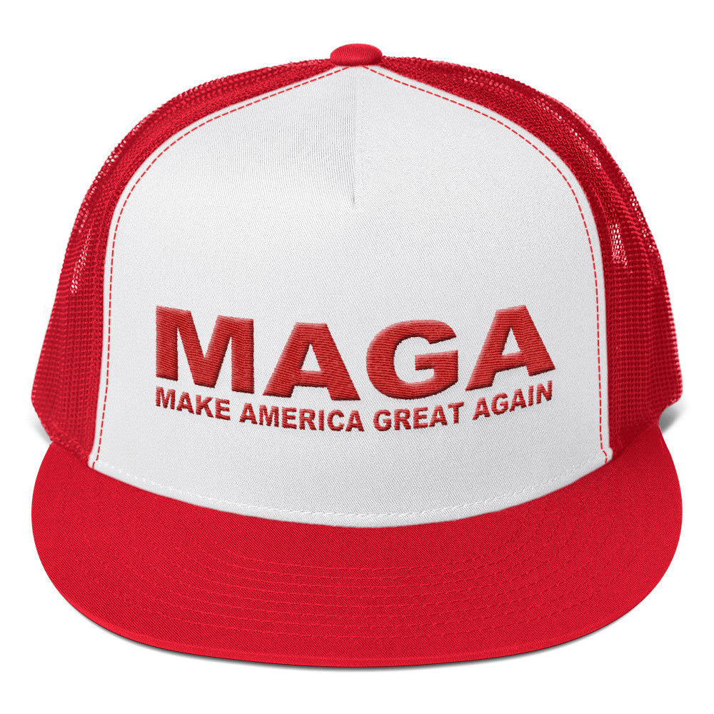 Trump Make America Great Again Trucker Hat Red And White for $34.00 at Miss Deplorable