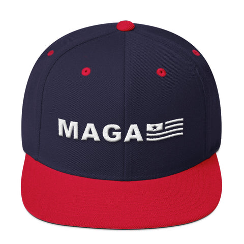 Make America Great Again MAGA USA Flag Wool Blend Snapback for $33.00 at Miss Deplorable