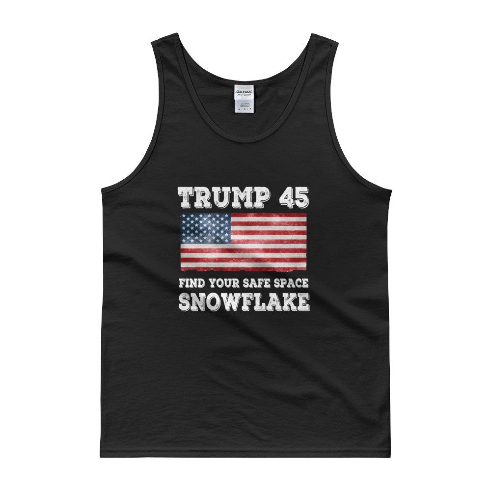 Trump 45 Find Your Safe Place Snowflake Mens Tank Top for $27.50 at Miss Deplorable