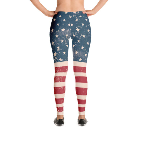 Vintage American Flag USA Leggings - Miss Deplorable