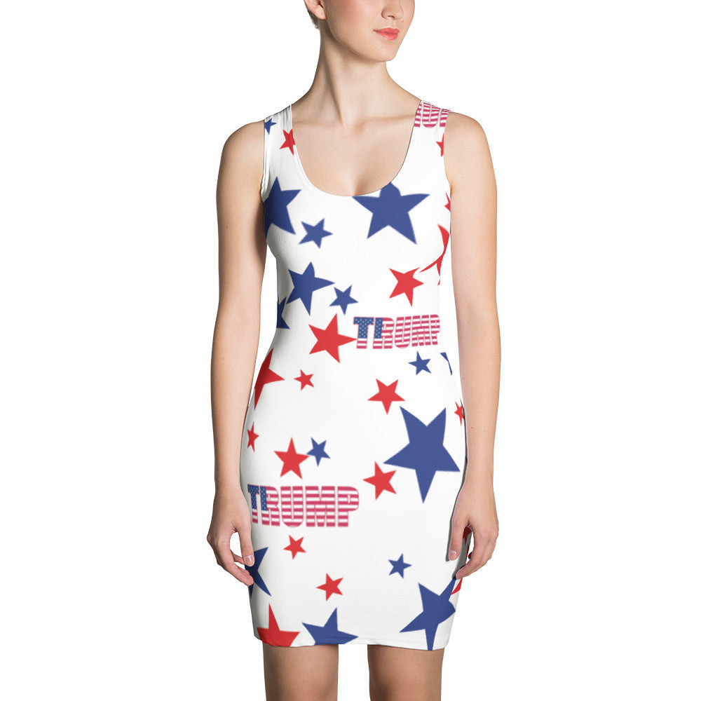 Donald Trump White, Red and Blue Stars Dress - Miss Deplorable