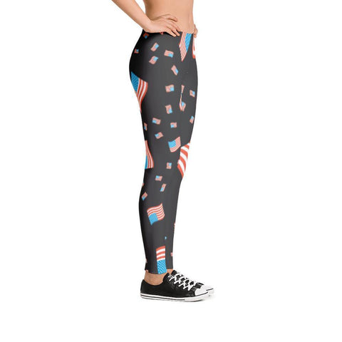 American Flag Patriotic Black Leggings - Miss Deplorable
