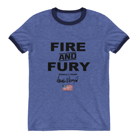 Donald Trump Fire And Fury Mens Ringer T-Shirt - Miss Deplorable