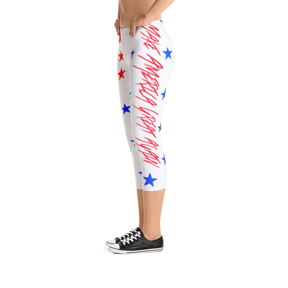 Make America Great Again Patriotic American Capri Leggings - Miss Deplorable