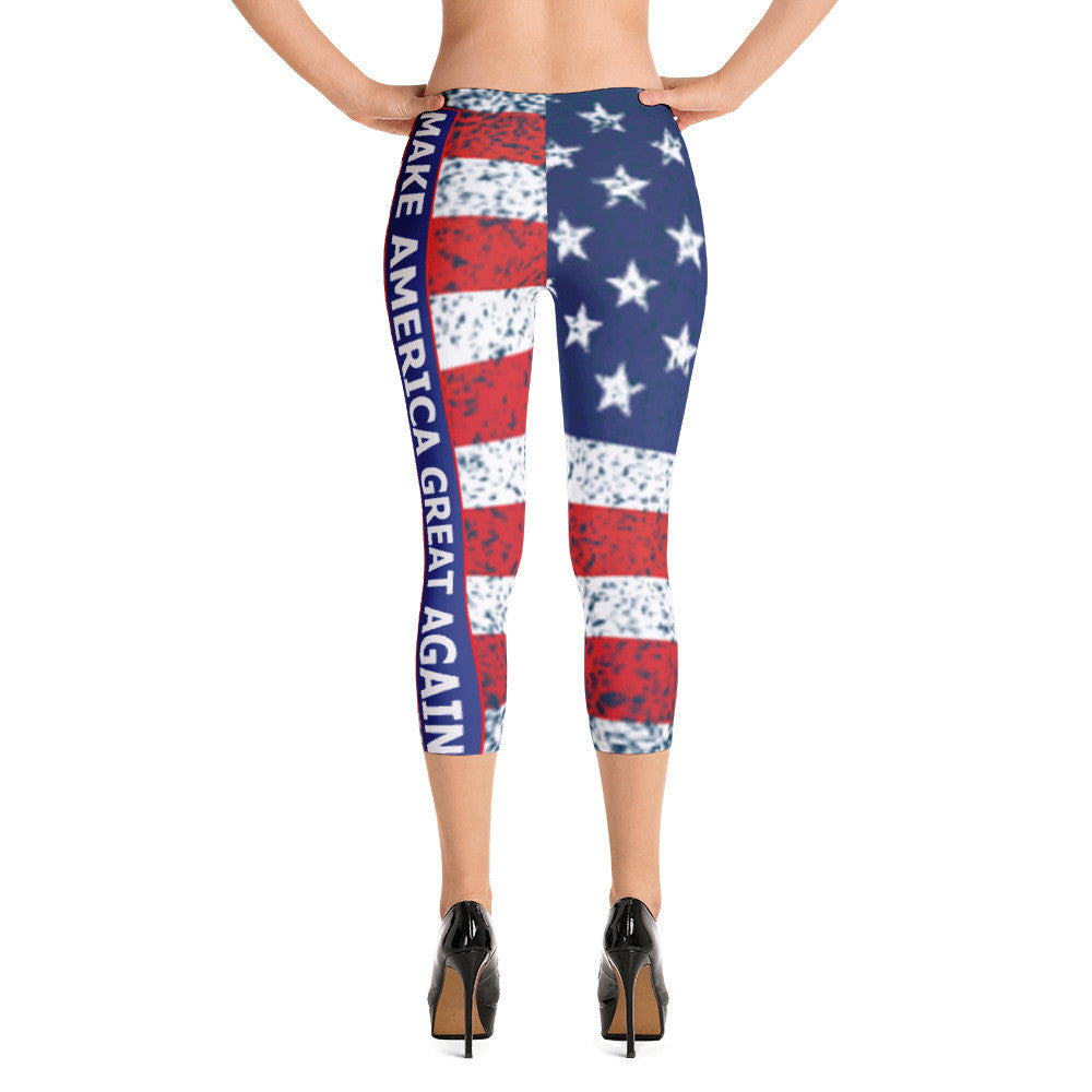 Distressed Make America Great Again Capri Leggings - Miss Deplorable