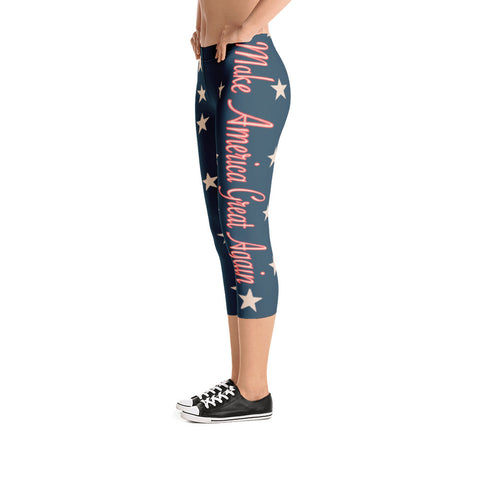 Vintage Make America Great Again Capri Leggings - Miss Deplorable