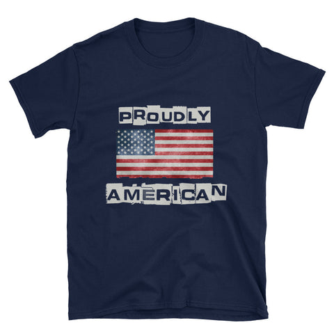 Distressed Proudly American Patriotic Mens T-Shirt - Miss Deplorable
