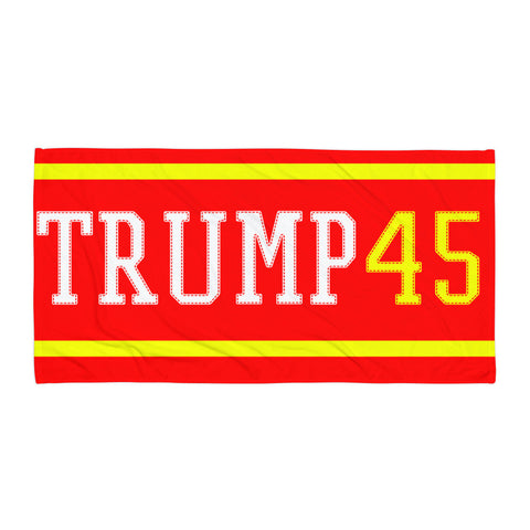 Trump 45 Beach Blanket Red and Yellow for $0.41 at Miss Deplorable