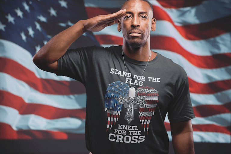 Stand For The Flag Kneel For The Cross Shirt for $25.00 at Miss Deplorable
