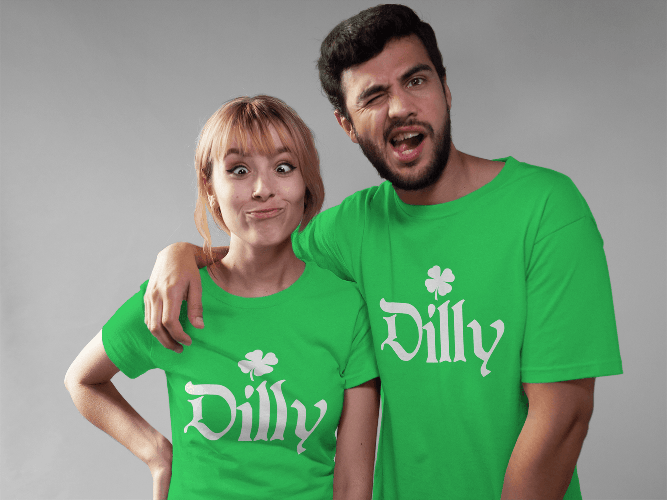 Matching St Patricks Day Green T Shirts Couples Saint Patricks Day Group Tees Funny Green Dilly Dilly Shirts for $20.00 at Miss Deplorable