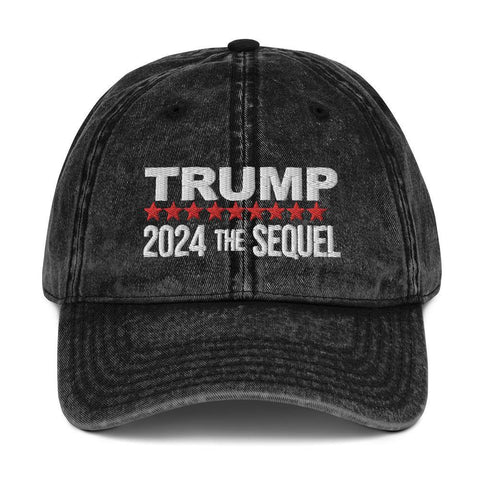 Trump 2024 The Sequel Vintage Cotton Baseball Cap for $39.00 at Miss Deplorable